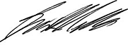 Signature of Brian Mills, Chief Executive Officer and superintendent of Financial Services